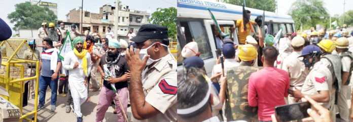 सिरसा में मुख्यमंत्री मनोहर लाल को काले झंडे दिखाने आए किसानों को हिरासत में लेकर ले जाती पुलिस।