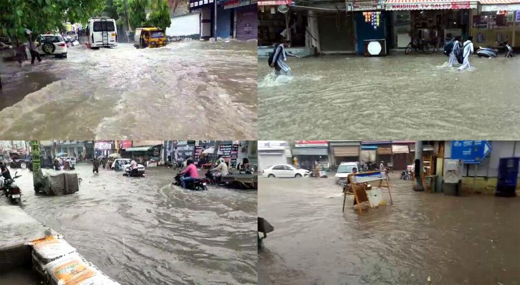 सावन में जमकर बरसे बदिरा : तेज बारिश में तालाब बनी सड़कें, गाडियों की लगी लंबी कतार
